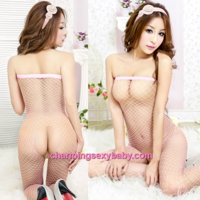 Sexy Fishnet Body Stocking Suit Pink Wrapped Chest Open Crotch Hosiery Lingerie Sleepwear WWL244