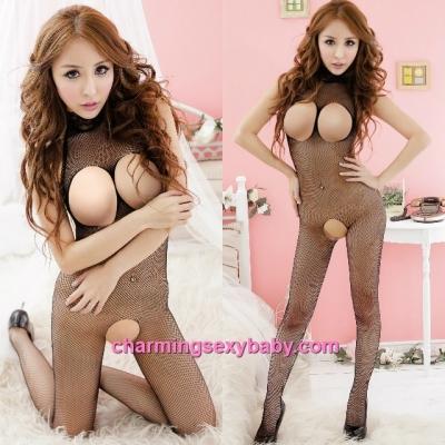 Sexy Fishnet Body Stocking Black Open Breast & Open Crotch Hosiery Lingerie Sleepwear WWL245