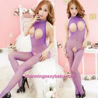 Sexy Fishnet Body Stocking Purple Open Breast & Open Crotch Hosiery Lingerie Sleepwear WWL245