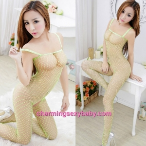Sexy Fishnet Body Stocking Green Sling Open Crotch Hosiery Lingerie Sleepwear WWL246