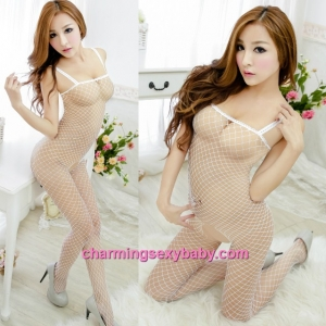 Sexy Fishnet Body Stocking White Sling Open Crotch Hosiery Lingerie Sleepwear WWL246