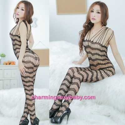 Sexy Fishnet Body Stocking Suit Black Open Crotch Hosiery Lingerie Sleepwear L26
