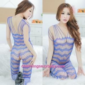 Sexy Fishnet Body Stocking Suit Blue Open Crotch Hosiery Lingerie Sleepwear L26
