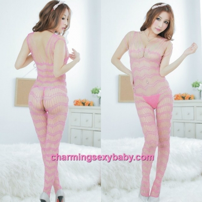 Sexy Fishnet Body Stocking Suit Pink Open Crotch Hosiery Lingerie Sleepwear L26