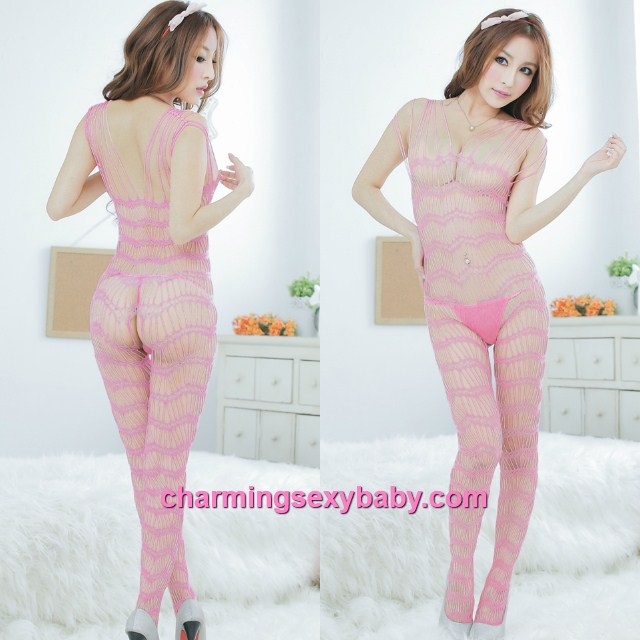 Sexy Fishnet Body Stocking Suit Pink Open Crotch Hosiery Lingerie Sleepwear L26