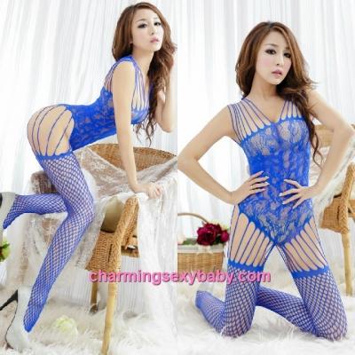 Sexy Fishnet Body Stocking Suit Blue Hosiery Lingerie Sleepwear WWL30