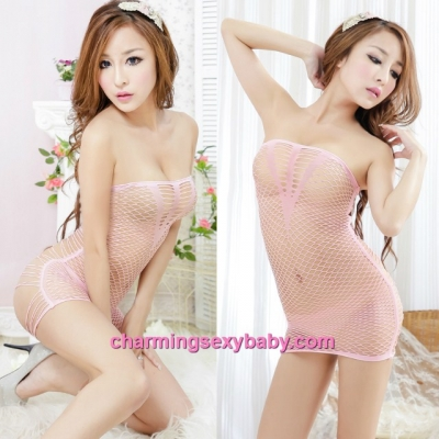 Sexy Fishnet Body Stocking Pink Hollow Pattern Mini Dress Hosiery Lingerie Sleepwear WWL34