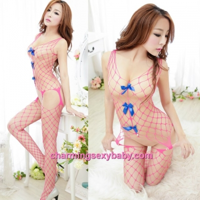 Sexy Fishnet Body Stocking Suit Rose-Red Large Mesh Open Crotch Hosiery Lingerie Sleepwear WWL375
