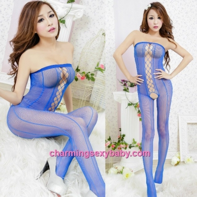 Sexy Fishnet Body Stocking Suit Blue Wrapped Chest Open Crotch Hosiery Lingerie Sleepwear WWL454