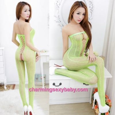 Sexy Fishnet Body Stocking Suit Green Wrapped Chest Open Crotch Hosiery Lingerie Sleepwear WWL454