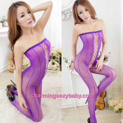 Sexy Fishnet Body Stocking Suit Purple Wrapped Chest Open Crotch Hosiery Lingerie Sleepwear WWL454