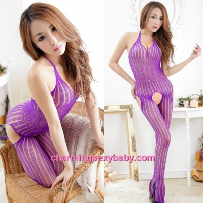 Sexy Fishnet Body Stocking Purple Halter Open Crotch Hosiery Lingerie Sleepwear WWL51