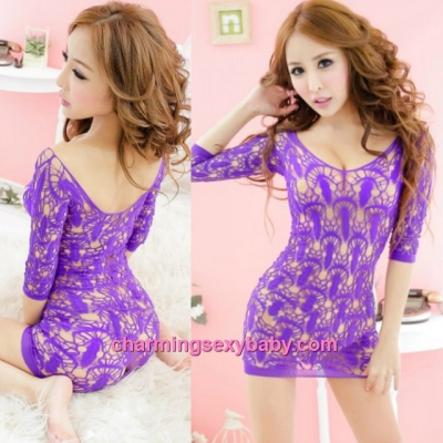 Sexy Fishnet Body Stocking Purple Low-Cut Hollow Pattern Hosiery Short Dress Lingerie Sleepwear WWL57