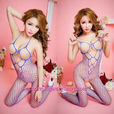 Sexy Fishnet Body Stocking Suit Blue Halter Open Breast Hosiery Lingerie Sleepwear WWL67