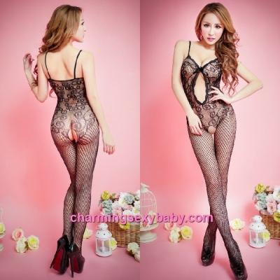 Sexy Fishnet Body Stocking Suit Black Sling See-Through Hosiery Lingerie Sleepwear WWL68