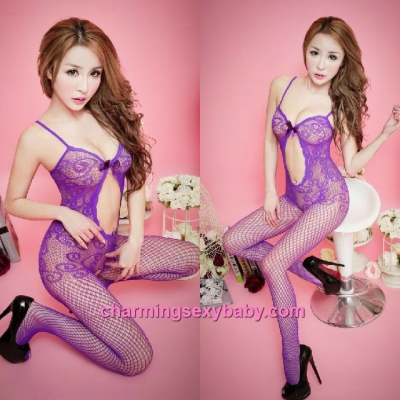 Sexy Fishnet Body Stocking Suit Purple Sling See-Through Hosiery Lingerie Sleepwear WWL68