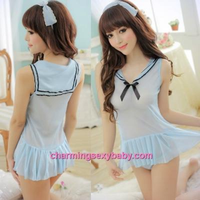 Sexy Lingerie Sailor Uniform School Girl Dress + G-String Costume Sleepwear MM7759