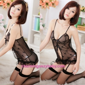 Sexy Lingerie Black Sling Short Dress + Garter Belts + G-String Sleepwear MM8972