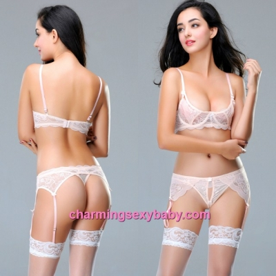 Sexy Lingerie Light Apricot Bikini Bra with Wire + G-String + Garter Belts Sleepwear MM9027