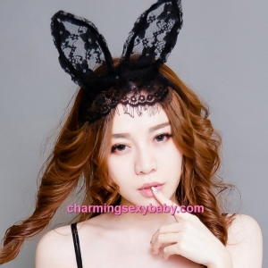 Sexy Lingerie Accessories Rabbit Ears Hair Band Lace Veil Colsplay Costume BHM005