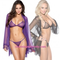 Sexy Lingerie Transparent Bra + G-String + Robes Outfits Sleepwear (2 Colors) M6641