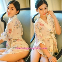Sexy Lingerie Creamy-White Japanese Style Flower Robes + G-String Sleepwear MH6203