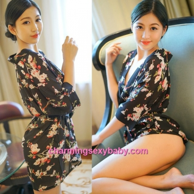 Sexy Lingerie Black Japanese Style Flower Robes + G-String Sleepwear MH6205