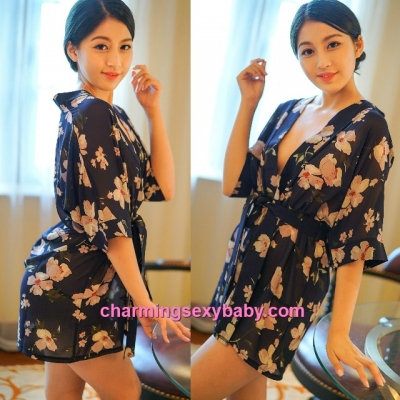Sexy Lingerie Dark Blue Japanese Style Flower Robes + G-String Sleepwear MH6207