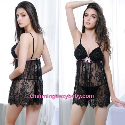 Sexy Lingerie Black Lace Sling See-Through Dress + G-String Sleepwear MM6651