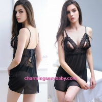 Sexy Lingerie Black Lace See-Through Dress + Panties Sleepwear MM503