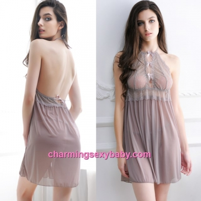 Sexy Lingerie Mauve Lace Halter See-Through Dress + G-String Sleepwear MM607