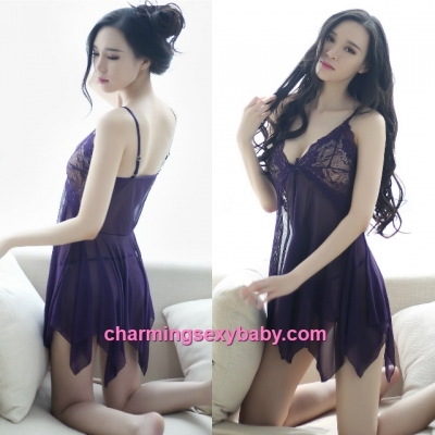 Sexy Lingerie Purple Sling Low-Cut Unbalanced Babydoll Dress + G-Stirng Sleepwear BH8046