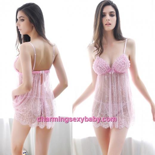 Sexy Lingerie Pink Lace Sling See-Through Dress + G-String Sleepwear Nightwear MM6651