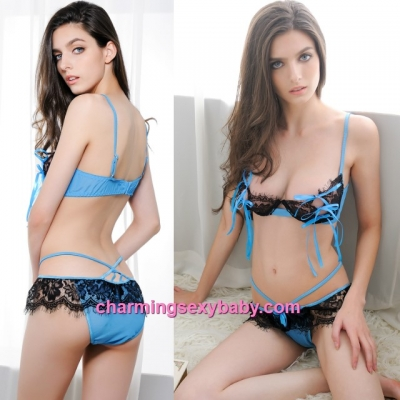 Sexy Lingerie Blue + Black Lace Bikini Set Bra + Panties Sleepwear MM2285