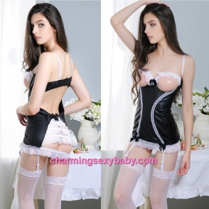 Sexy Lingerie Black Open Breast Dress + Garter Belts + G-String Costume Sleepwear MM6652