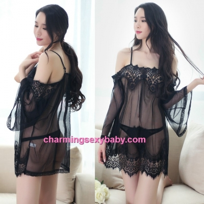 Sexy Lingerie Black Sling Off Shoulder Babydoll Dress + G-String Sleepwear BH1058