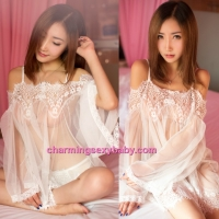 Sexy Lingerie White Sling Off Shoulder Babydoll Dress + G-String Sleepwear BH1058