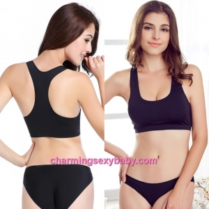 Sexy Black Seamless Ice Silk Bra Top Yoga Sports Bustier with Pad Lingerie LY1227