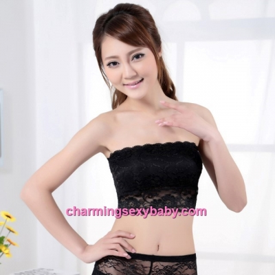 Black Lace Sexy Women Boob Tube Wrapped Chest With Chest Pad Bustier Lingerie LY1895
