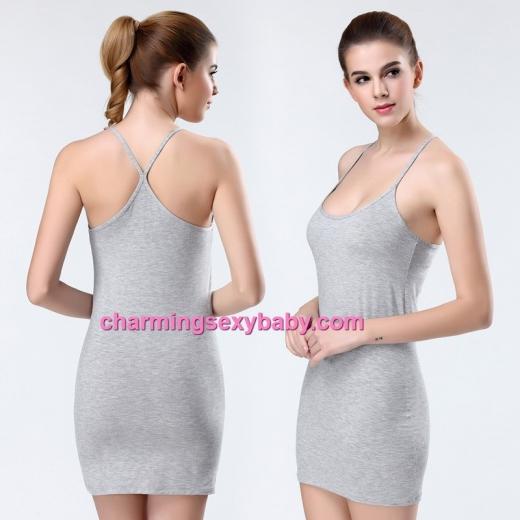 Grey Women Sexy Modal Low-Cut Bottoming Dress Lingerie Sleepwear YST9070