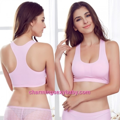 Sexy Pink Seamless Ice Silk Bra Top Yoga Sports Bustier with Pad Lingerie LY1227