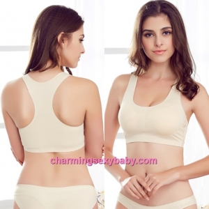 Sexy Beige Seamless Ice Silk Bra Top Yoga Sports Bustier with Pad Lingerie LY1227