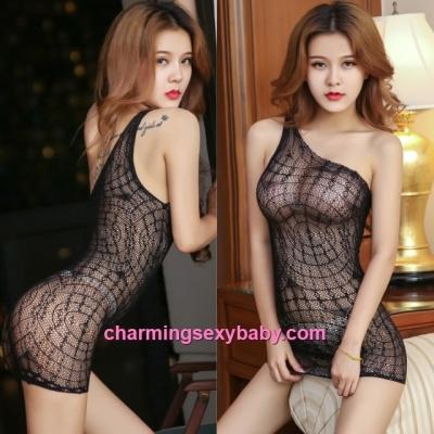 Sexy Fishnet Body Stocking Black Sloping Shoulder See-Through Hosiery Lingerie Sleepwear WWL75