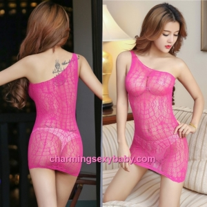 Sexy Fishnet Body Stocking Rose Red Sloping Shoulder See-Through Hosiery Lingerie Sleepwear WWL75