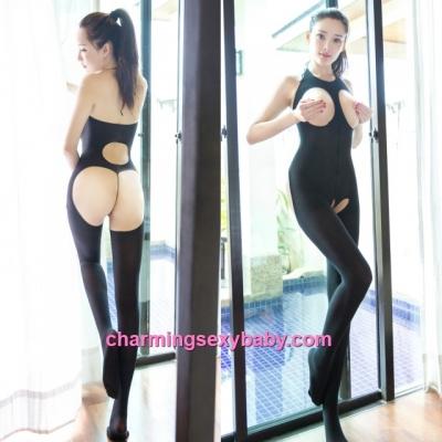 Sexy Body Stocking Black Halter Open Breast & Butt Suit Lingerie Nightwear Sleepwear BH351