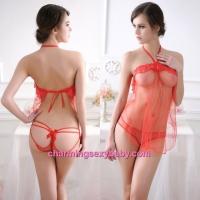 Sexy Lingerie Red Halter Transparent Dress + Panties Sleepwear Nightwear LY3910