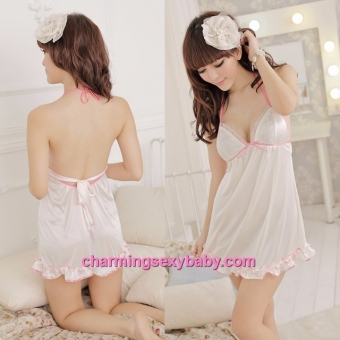 Sexy Lingerie Creamy-White Satin Halter Backless Babydoll Dress Sleepwear Pajamas LY8812