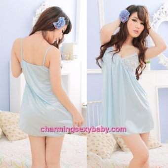 Sexy Lingerie Blue Satin Sling Low-Cut Babydoll Dress Pyjamas Sleepwear Nightwear LY8860