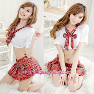 Sexy Lingerie Red Student Uniform School Dress Costume Sleepwear Nightwear QQ279