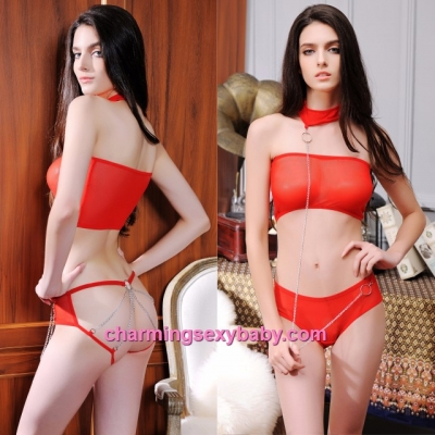 Sexy Lingerie Red Bikini Set Tube + Chain Panties Sleepwear Nightwear LYC03